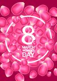 8 March World Women`s Day. 3D illustration with the background of the strips of paper butterflies and white text Royalty Free Stock Photos