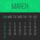 March year 2019 monthly calendar stock photos