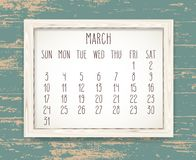 March year 2019 monthly calendar stock photo