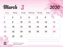March 2020 Year Template, Calendar 2020 Vector, Desk Calendar Design, pink flower concept for cosmetics, beauty, spa, business. Week Start On Sunday, Planner royalty free illustration