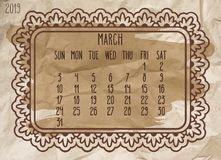 March year 2019 vintage monthly calendar stock photography