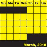 2018 March yellow on black planner calendar. With huge space for notes royalty free illustration
