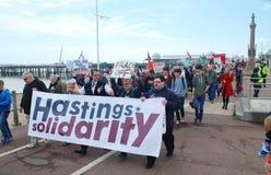 Marcha de la austeridad, Hastings Foto de archivo libre de regalías