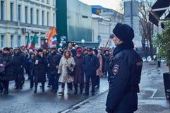 Marcha de la memoria del político matado Boris Nemtsov Foto de archivo libre de regalías