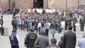 Marcha de Policia Escolar, Cusco stock video