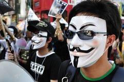 Marcha de protesto, Hong Kong Fotografia de Stock Royalty Free