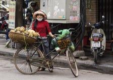 Marchand ambulant féminin vendant des ananas hors d'un panier sur son b Photographie stock libre de droits