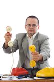 Marchand amical de téléphone photo stock