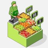 Marchand de légumes isométrique Shop - propriétaire de femme - Front View Standing P Photographie stock libre de droits