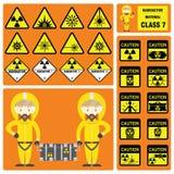 Marchandises dangereuses et matériaux dangereux - ensemble de signes et symboles de classe matérielle radioactive Photos stock