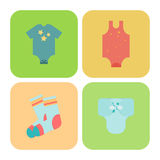 Marchandises de bébé Icônes plates d'enfants Illustration Libre de Droits