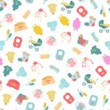 Marchandises de bébé Modèle sans couture des icônes de marchandises de bébé Illustration de Vecteur