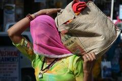 Marchandises de transport de femme, Inde Photographie stock