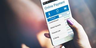Marchandises en ligne d'achat de paiement achetant payant le concept Image libre de droits