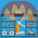 Marchandises sportives basket-ball de boutique, patinant, faisant du vélo, boule illustration stock