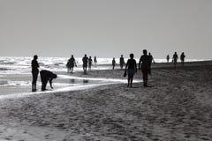 Marchant sur la plage, Fuerteventura Photos stock
