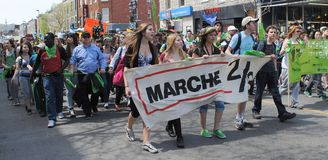 Marche 2 3. Montreal marche 2 3 on mont-royal street by oxfam quebec Royalty Free Stock Photos