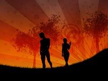 Marche au coucher du soleil illustration libre de droits
