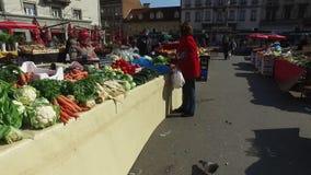 Marche au marché du ` s d'agriculteur de la capitale de Croate de Zagreb banque de vidéos