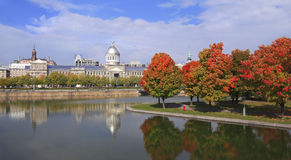 Marche Bonsecours, stadshus av Montreal i höst Royaltyfri Fotografi