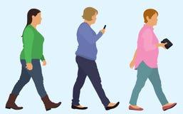 Marche caucasienne de poids excessif de femmes illustration de vecteur
