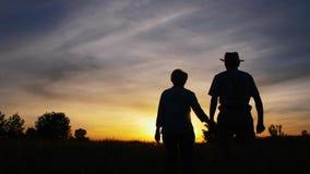Marche de baiser d'homme et de femme dans le pré au coucher du soleil clips vidéos