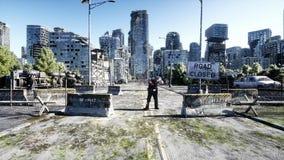 Marche de foule de zombi d'horreur Ville détruite Vue d'apocalypse, concept rendu 3d illustration libre de droits