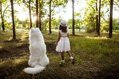 Marche de jeune fille, jouant avec le chien en parc au coucher du soleil Photographie stock libre de droits
