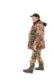 marche de silhouette de la Scandinavie d'homme de pêche de pêcheur Photographie stock libre de droits