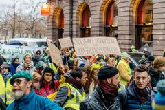 Marche derrama a demonstração do protesto do março de Le Climat no stre francês fotografia de stock