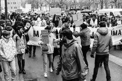 Marche derrama a demonstração do protesto do março de Le Climat no stre francês fotos de stock royalty free