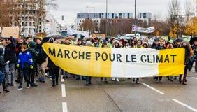 Marche derrama a demonstração do protesto do março de Le Climat no stre francês foto de stock royalty free