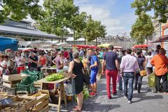 The Marche des Lices farmers market in Rennes, Brittany (France) Stock Photography