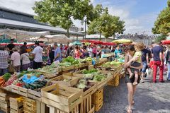 The Marche des Lices farmers market in Rennes, Brittany (France) Stock Image