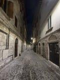 Marche di Ascoli Piceno, Italia, vicolo di notte Fotografia Stock