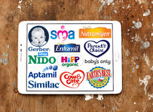 Marche e logos asciutti popolari superiori dei produttori di latte di formula Immagini Stock