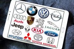 Marche e logos globali dell'automobile Fotografia Stock Libera da Diritti