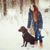 Marche femelle avec le chien de Labrador dans la forêt Images stock
