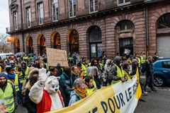 Marche giet het protestdemonstratie van Le Climat maart op Franse stre royalty-vrije stock afbeelding