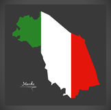 Marche map with Italian national flag illustration Stock Images