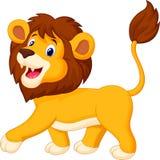 Marche mignonne de bande dessinée de lion Images libres de droits