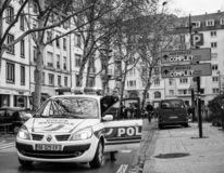 Marche Nalewa Le Climat marszu protesta demonstrację na Francuskim stre obrazy stock