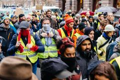 Marche Nalewa Le Climat marszu protesta demonstrację na Francuskim stre obraz royalty free