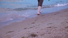 Marche nu-pieds le long du ressac sur la plage de sable à la fin de coucher du soleil  Jambes d'une femme marchant le long de la  banque de vidéos