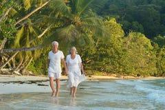 Marche pluse âgé heureuse de couples Image stock