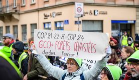 Marche Pour Le Climat march protest demonstration on French stre stock photography