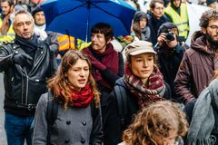 Marche Pour Le Climat march protest demonstration on French stre royalty free stock photo