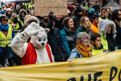 Marche Pour Le Climat march protest demonstration on French stre stock photo