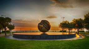 Sunrise on the waterfront of Pesaro. Marche region, Italy - Sunrise on the waterfront of Pesaro. HDR royalty free stock image