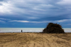 Marche sur la plage Photos stock